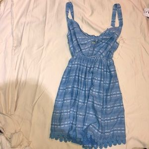 Blue Mini Dress with White Embroidering